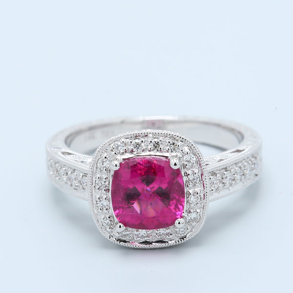 Raspberry Rhodolite Garnet and Diamond Halo Ring in 14k White Gold - 1477 Jewelers