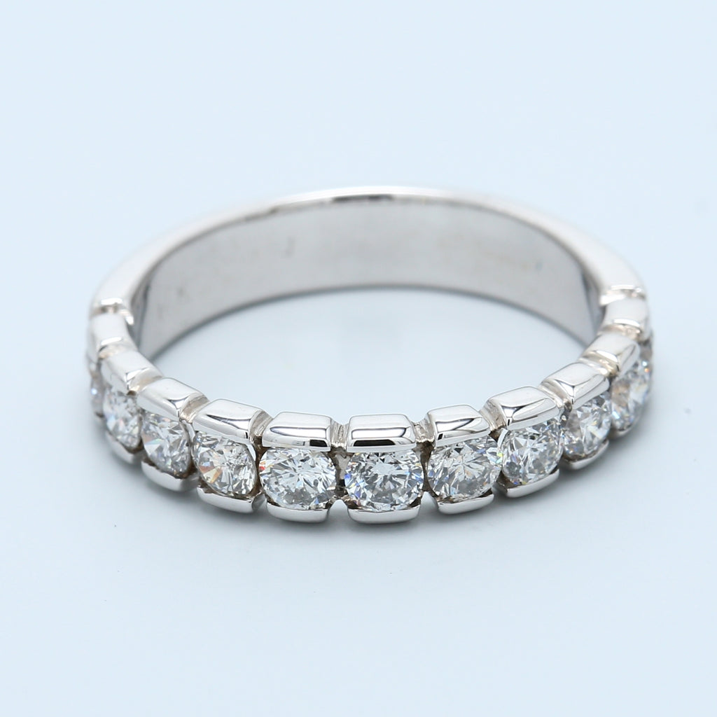 11 Diamond Classic Band with Indented Channels in 14k White Gold - 1477 Jewelers