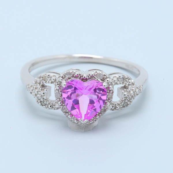 Heart Shaped Lab Created Pink Sapphire Ring - 1477 Jewelers
