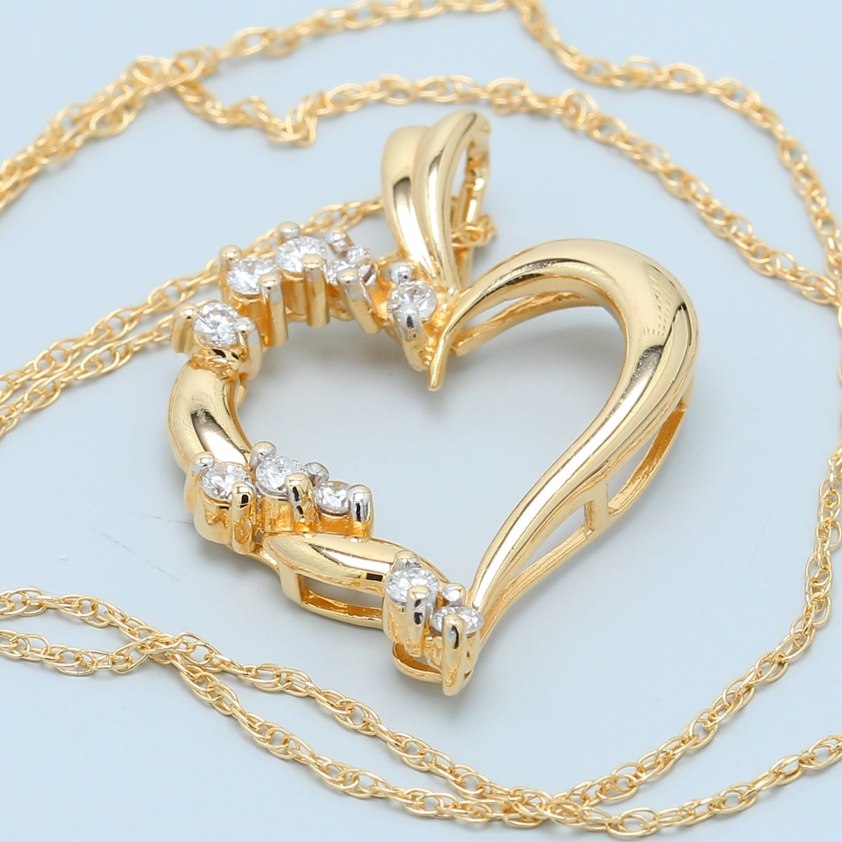 Bright Yellow Gold Diamond Heart Necklace