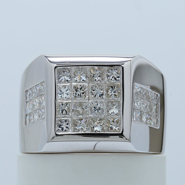 Elegant Invisible Set Princess Diamond Men's Ring in 14k White Gold - 1477 Jewelers