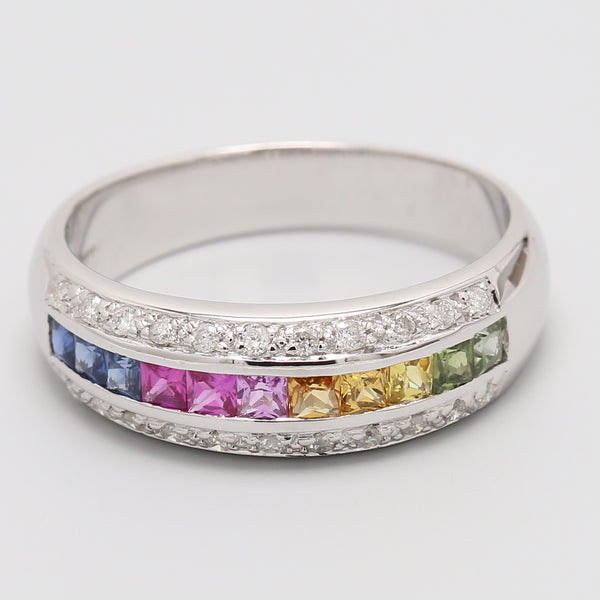 Rainbow Sapphire White Gold Ring - 1477 Jewelers