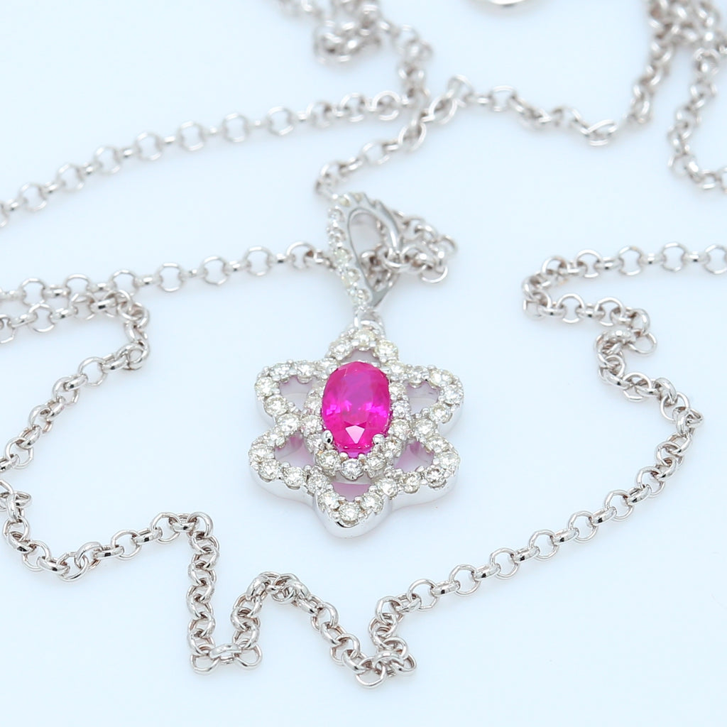 Oval Ruby and Floral Diamond Halo Necklace - 1477 Jewelers