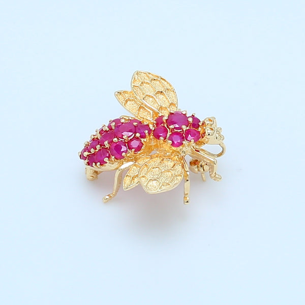 Ruby Bee Pendant Brooch in 14k Gold - 1477 Jewelers