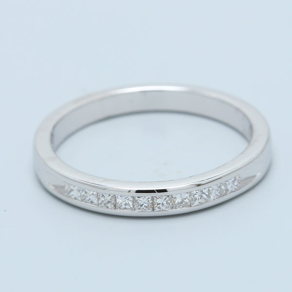 10 Diamond Channel Set Princess Band in 14k White Gold - 1477 Jewelers