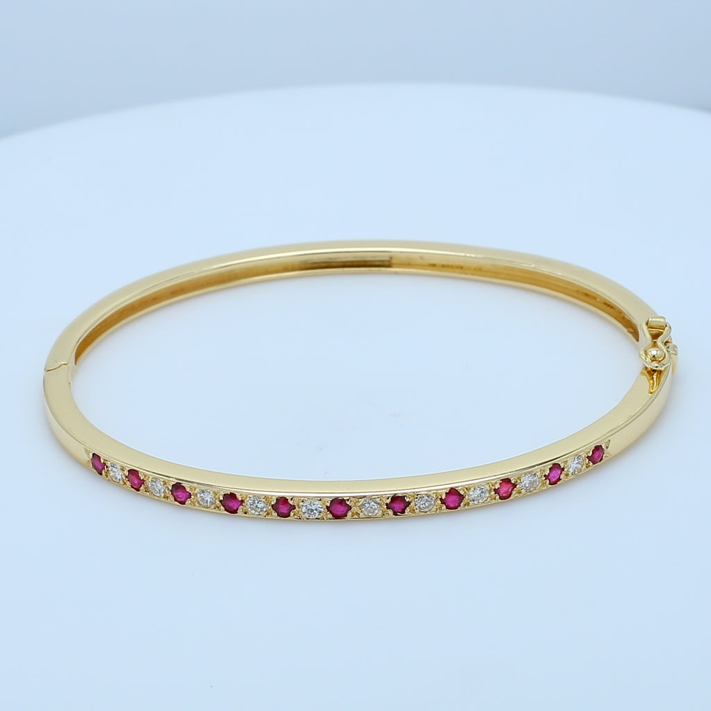 Precious Ruby and Diamond Yellow Gold Bangle - 1477 Jewelers