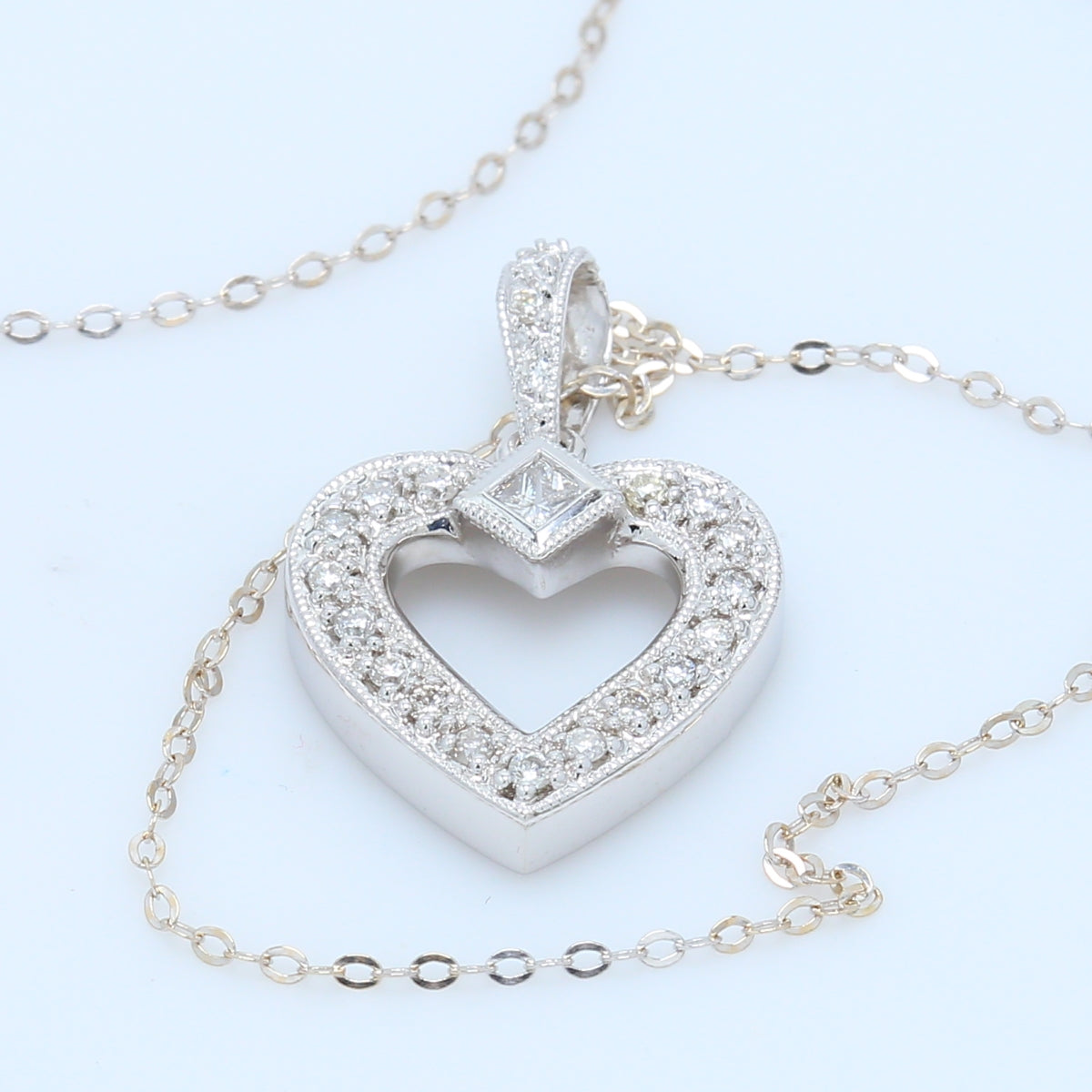 Vintage Inspired Diamond Heart Necklace