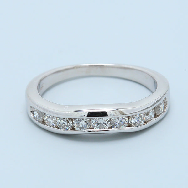 Curved Channel Set Diamond Band in 14k White Gold - 1477 Jewelers