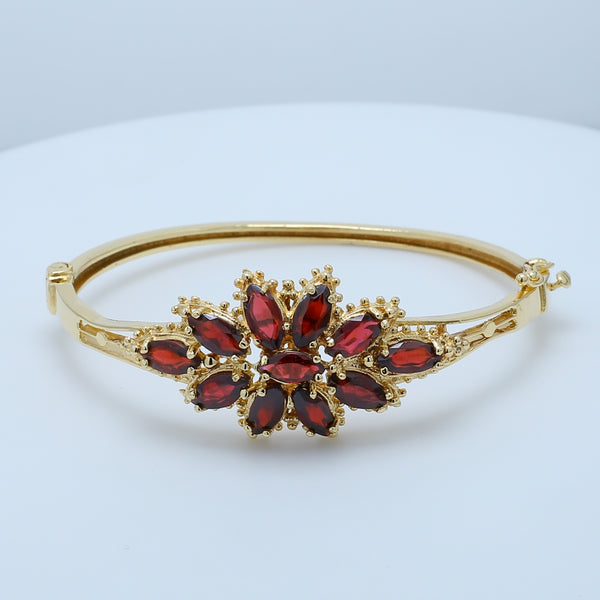 Floral Marquise Garnet Bangle - 1477 Jewelers