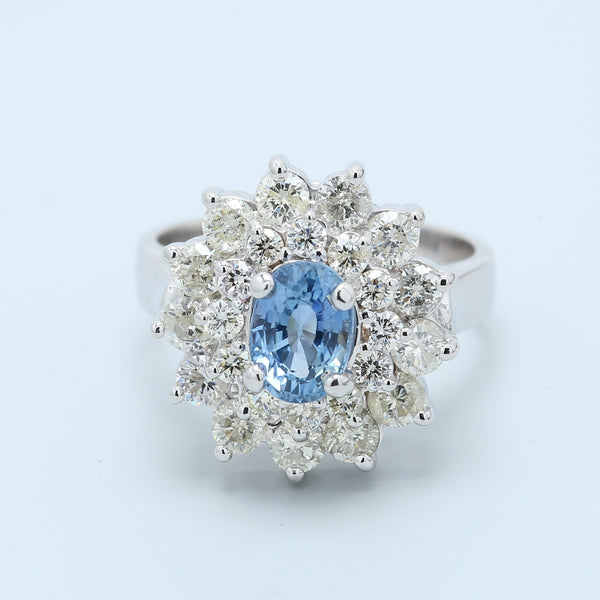 Ceylon Sapphire and Diamond Double Halo Ring - 1477 Jewelers
