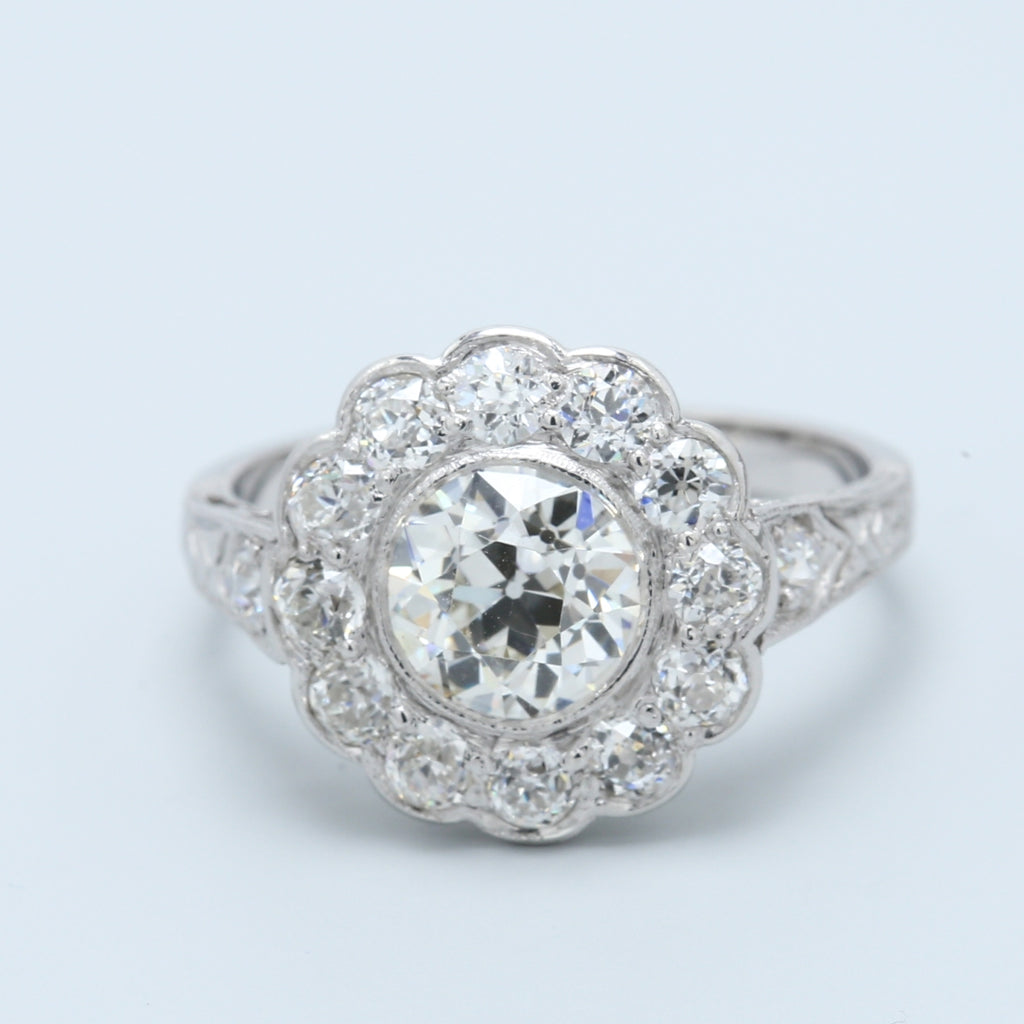 Antique 1.40ct Old European Diamond Daisy Platinum Engagement Ring - 1477 Jewelers