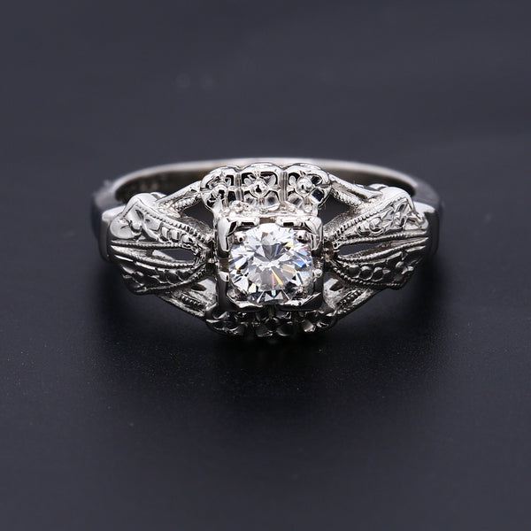 Antique Art Deco Platinum Diamond Ring - 1477 Jewelers