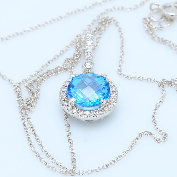Blue Topaz Diamond Halo White Gold Pendant - 1477 Jewelers