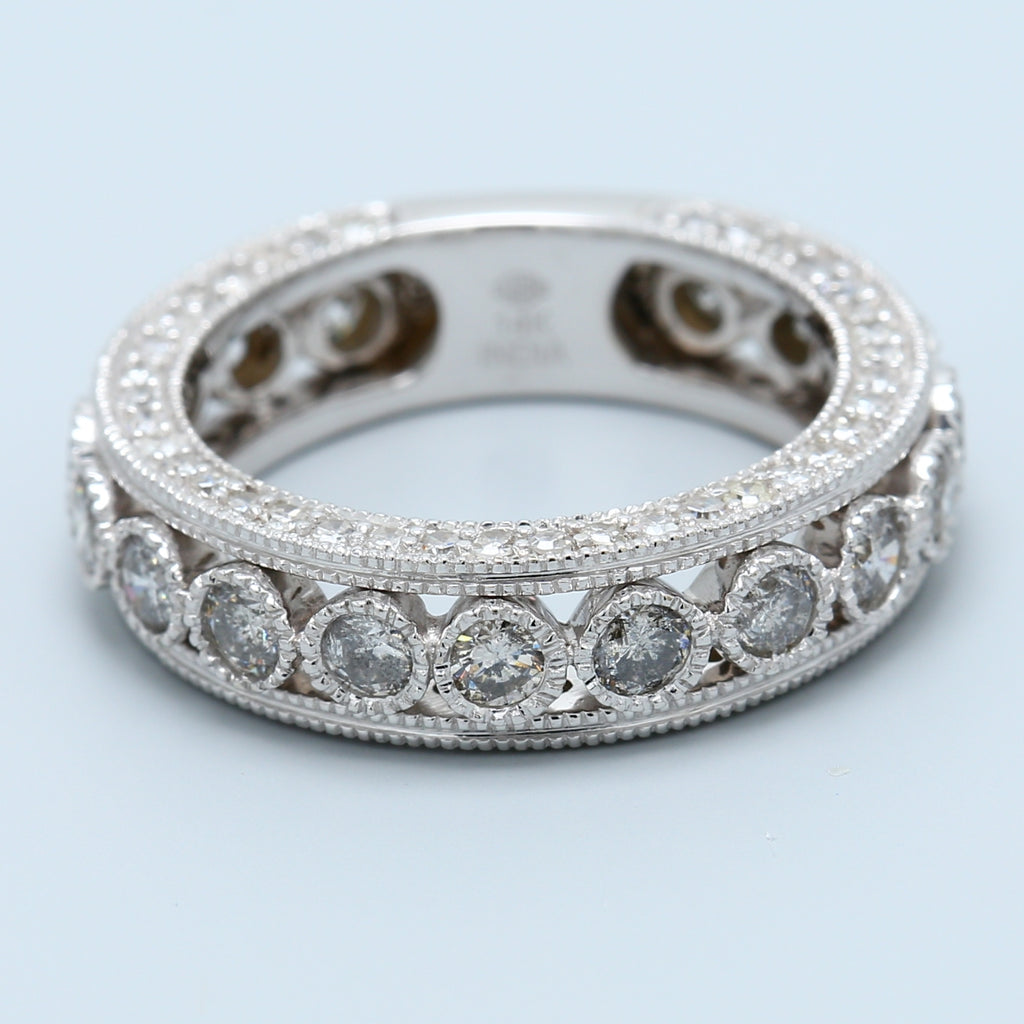 Beautiful 3 Sided Pave and Bezel Set Round Diamond Eternity - 1477 Jewelers