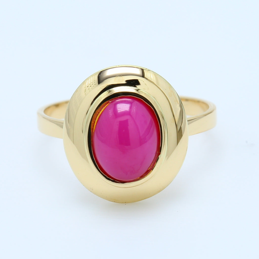 Oval Star Ruby Ring Bezel Set in 14k Yellow Gold Ring - 1477 Jewelers