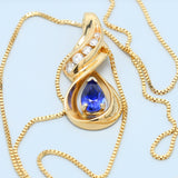 Sapphire and Diamond Elegant Swirl Necklace - 1477 Jewelers