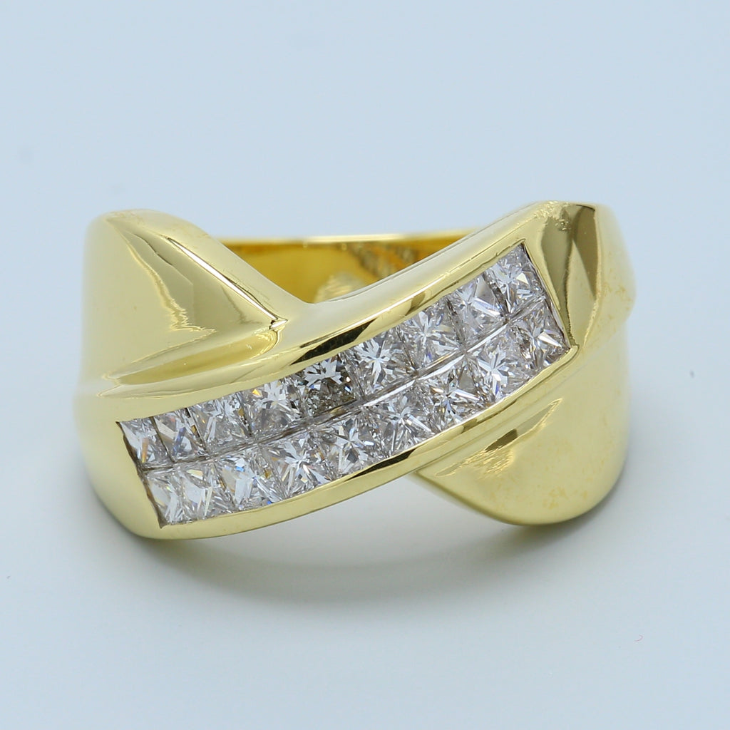 Princess Diamond Crossover Ring in 18k Yellow Gold - 1477 Jewelers