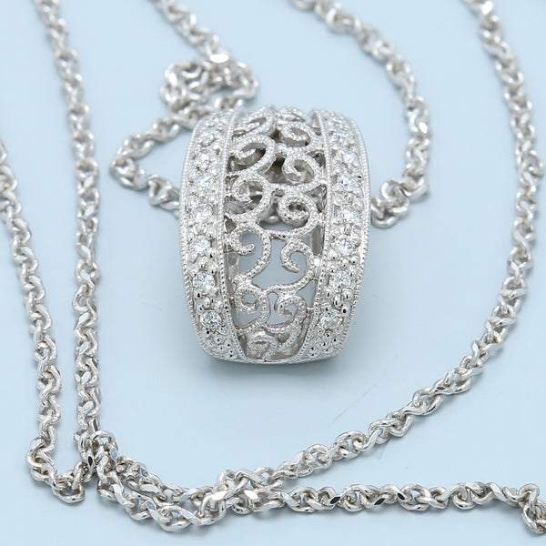 Filigree Diamond Loop Necklace - 1477 Jewelers
