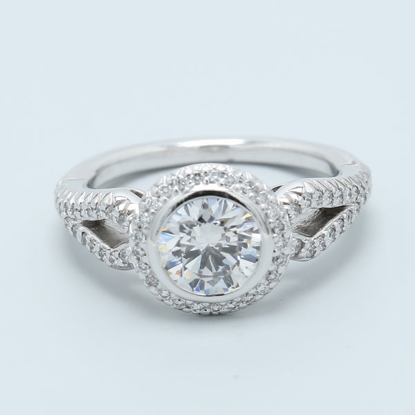 1 Carat Bezel Set Diamond Engagement Ring - 1477 Jewelers