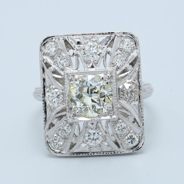 Art Deco Old European Cut Plate Filigree Ring in Platinum and 14k White Gold - 1477 Jewelers