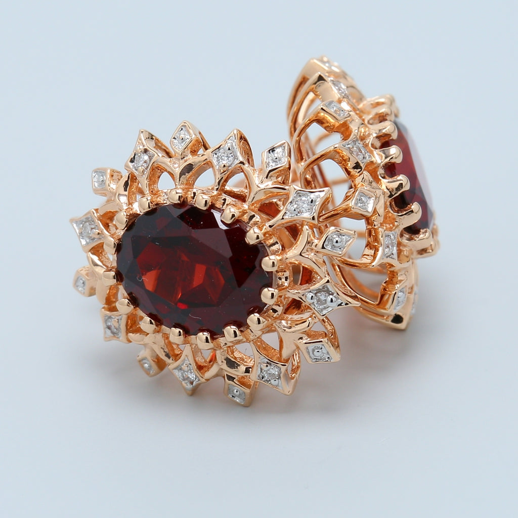 Rose Gold Garnet and Diamond Stud Earrings - 1477 Jewelers