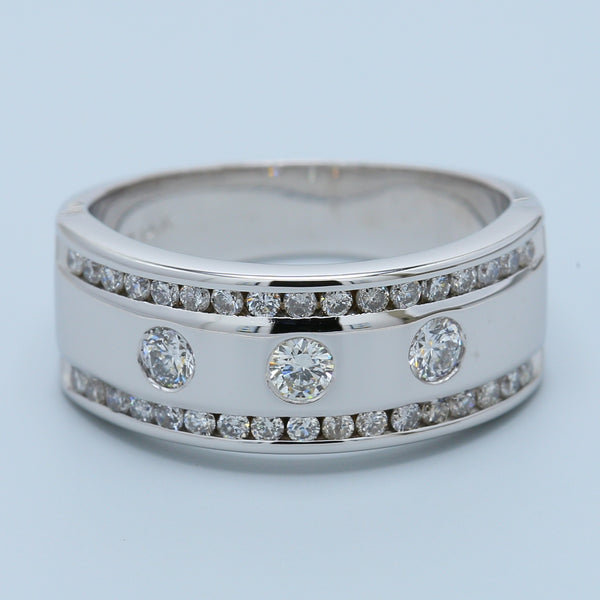 Men's Three Diamond Wedding Band with Channel Set Diamond Borders in 14k White Gold - 1477 Jewelers