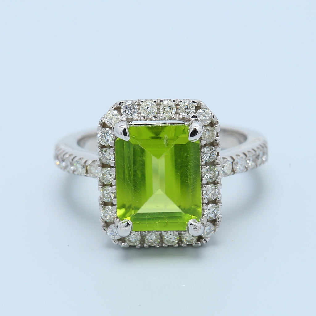 Peridot and Diamond Halo Ring in 14k White Gold - 1477 Jewelers