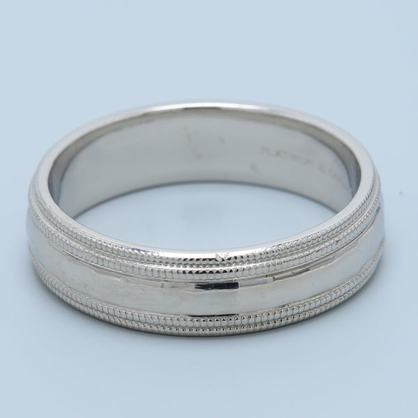 Men's Heavy Matte Hammered Finish with Double Milgrain Platinum Band - 1477 Jewelers