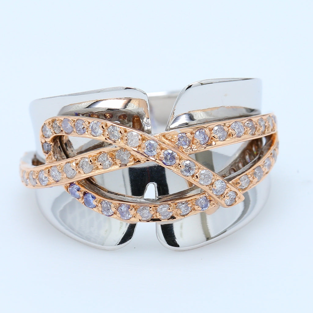 Contemporary White and Rose Gold Diamond Band - 1477 Jewelers