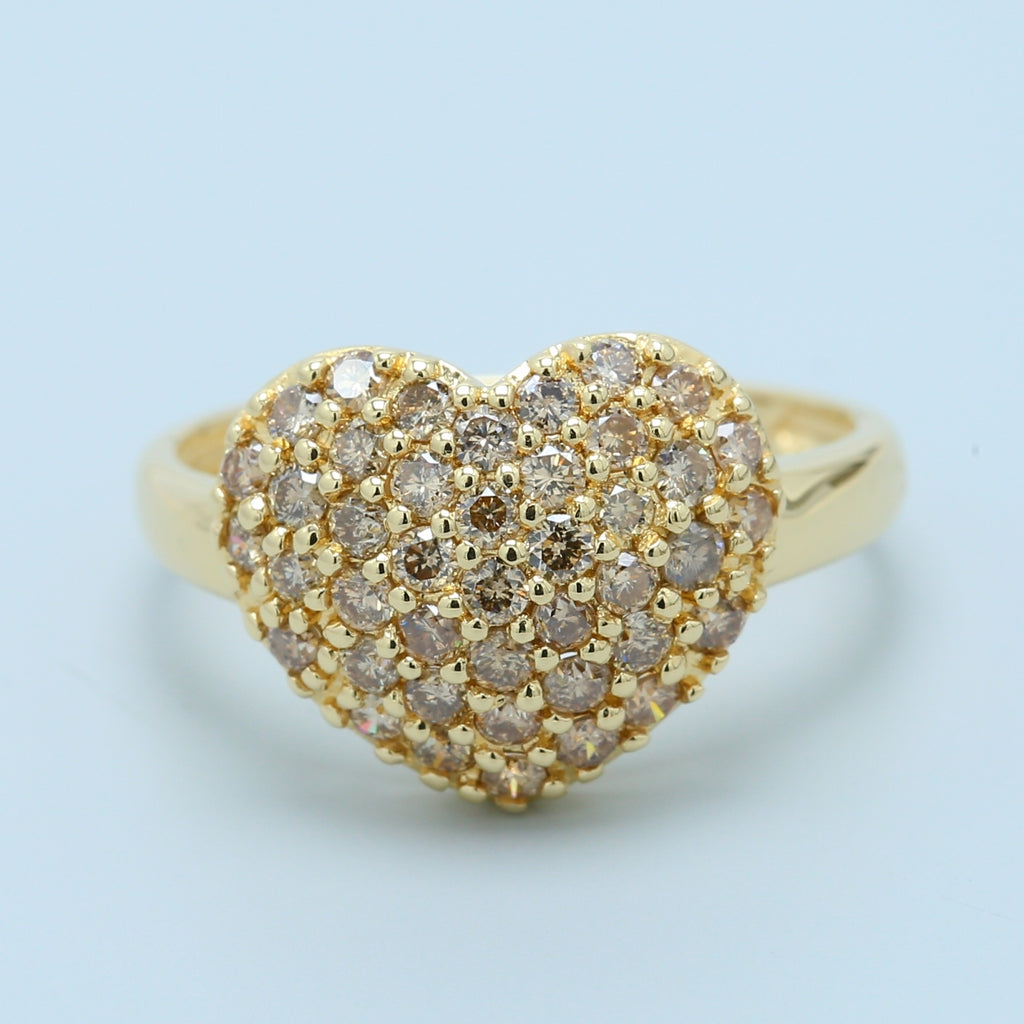 Pavé Champagne Chocolate Diamond Heart Ring - 1477 Jewelers