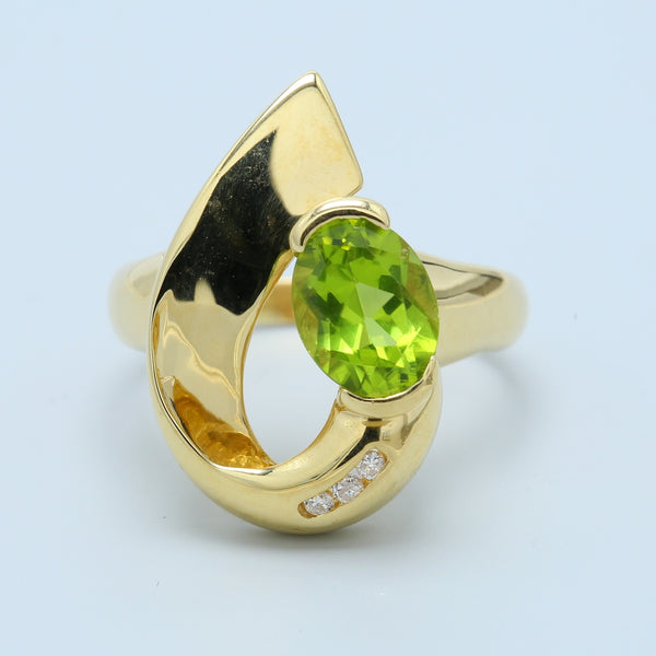 Free Form Peridot and Diamond Ring in 14k Yellow Gold - 1477 Jewelers