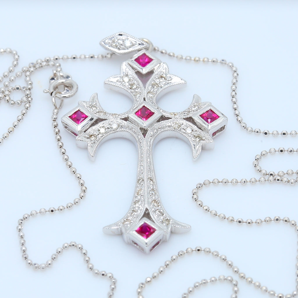 Vintage Diamond and Ruby Cross Necklace - 1477 Jewelers