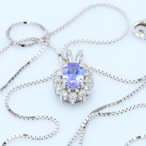 Lavender Oval Tanzanite and Diamond Halo Necklace - 1477 Jewelers