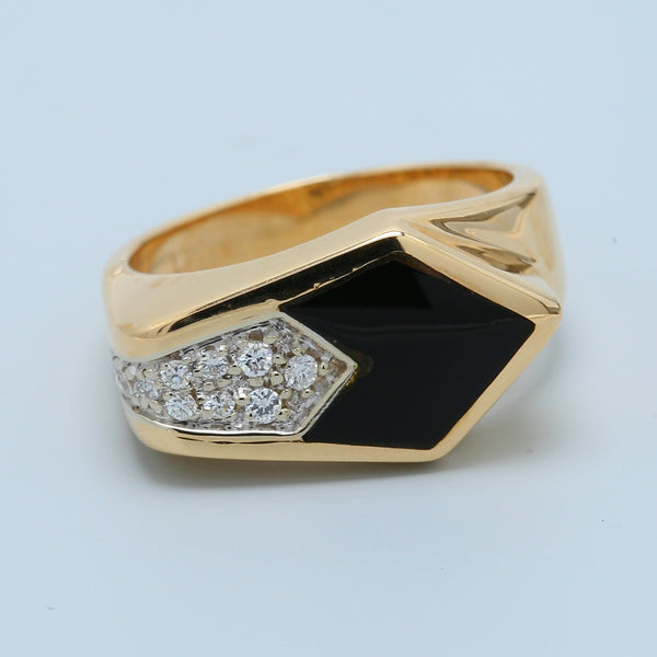 Arrow Shaped Black Onyx Diamond Ring in 14k Yellow Gold - 1477 Jewelers