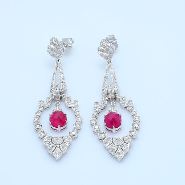 Art Deco Antique Ruby and Diamond Drop Earrings - 1477 Jewelers