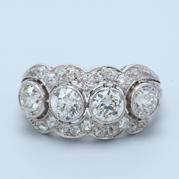 Magnificent Art Deco Antique Four Diamond Wide Band in Platinum - 1477 Jewelers