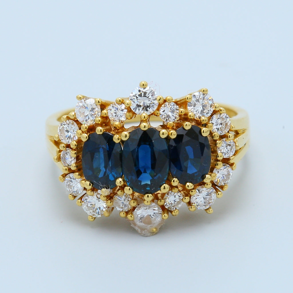 Sapphire and Diamond Halo Cocktail Ring - 1477 Jewelers