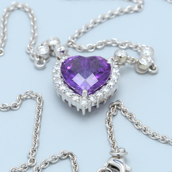 Heart Shaped Purple Amethyst Necklace - 1477 Jewelers