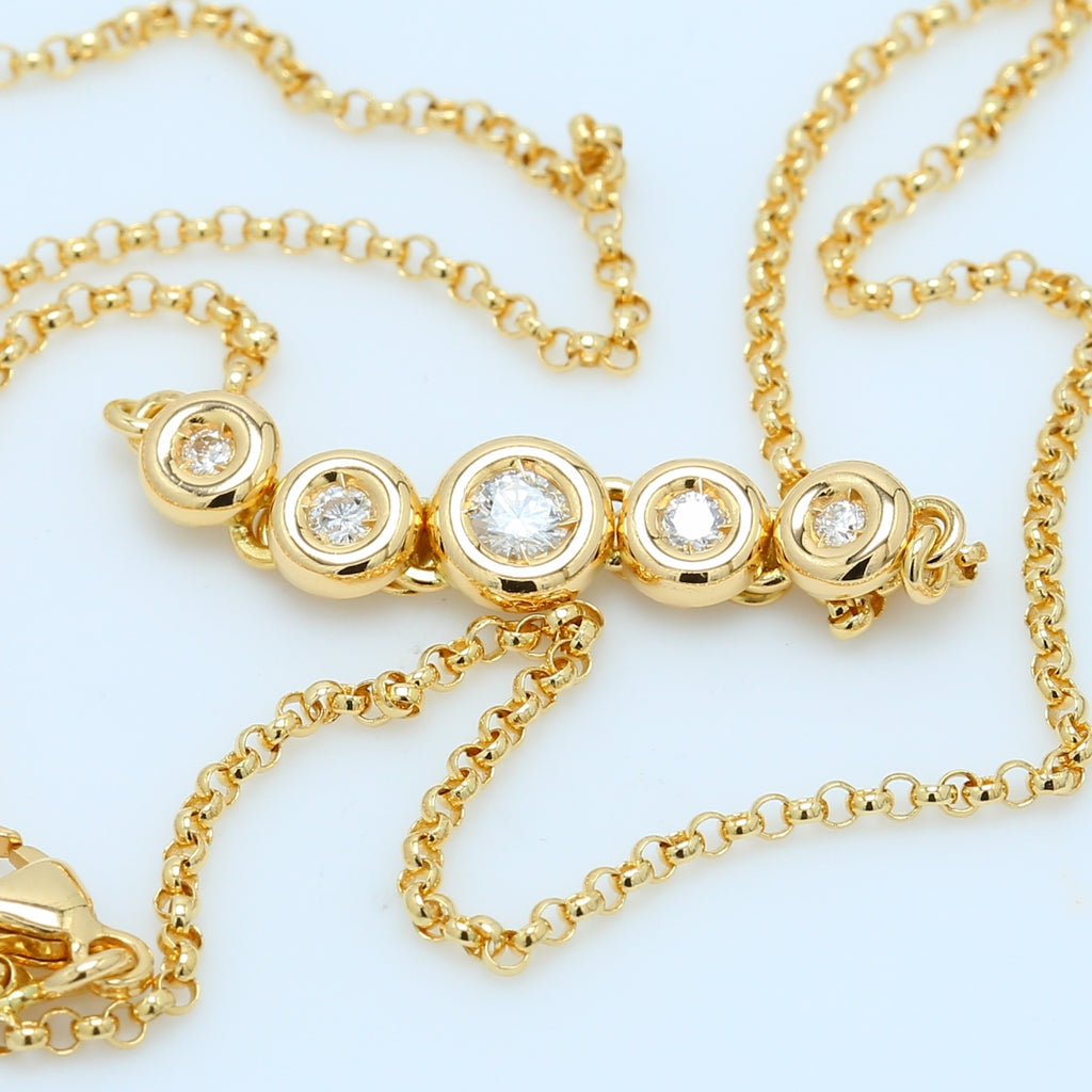 5 Diamond Bezel Necklace - 1477 Jewelers