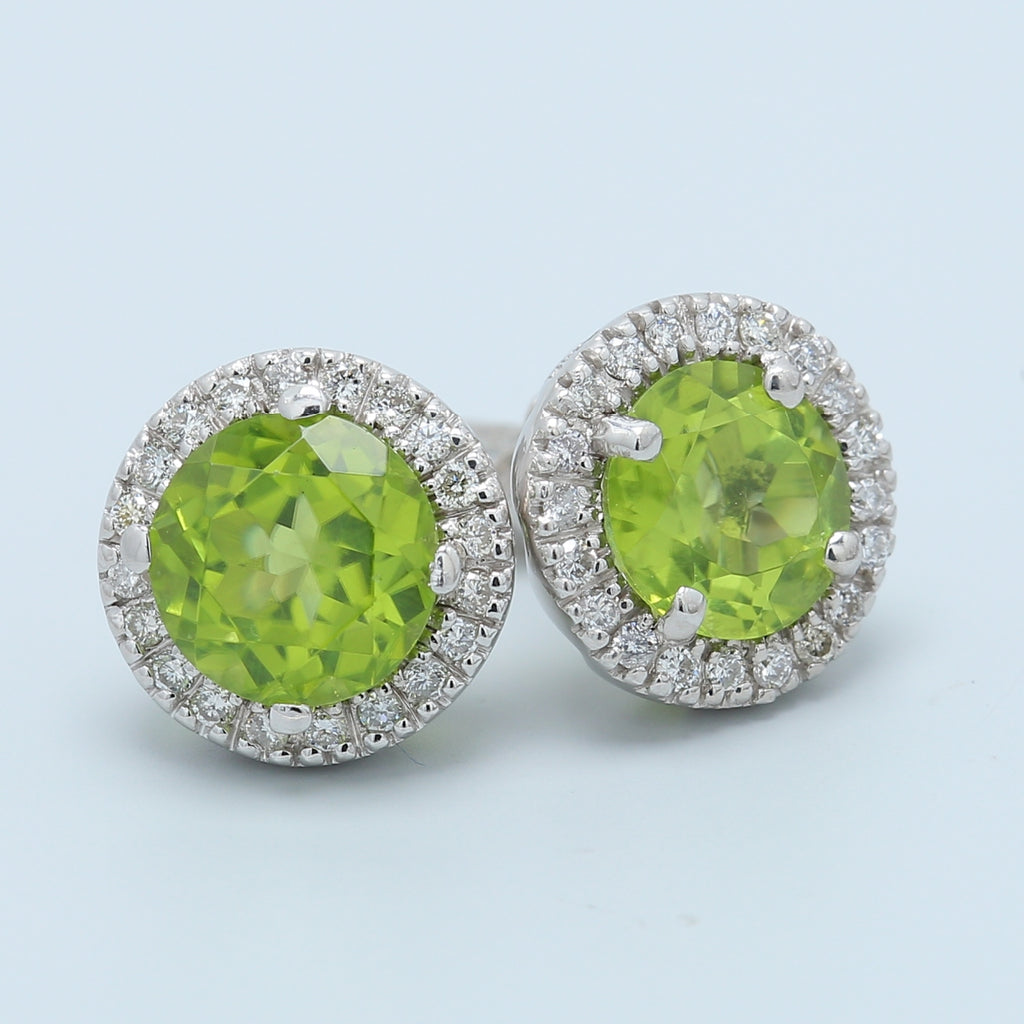 Chartreuse Peridot and Diamond Halo Studs - 1477 Jewelers