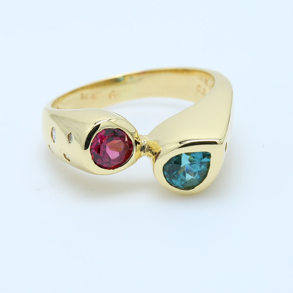 Round Red Morganite and Pear Teal Iolite Ring