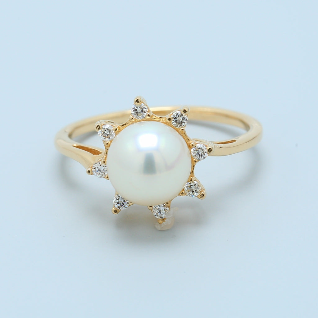 White Pearl with Diamond Halo Ring - 1477 Jewelers