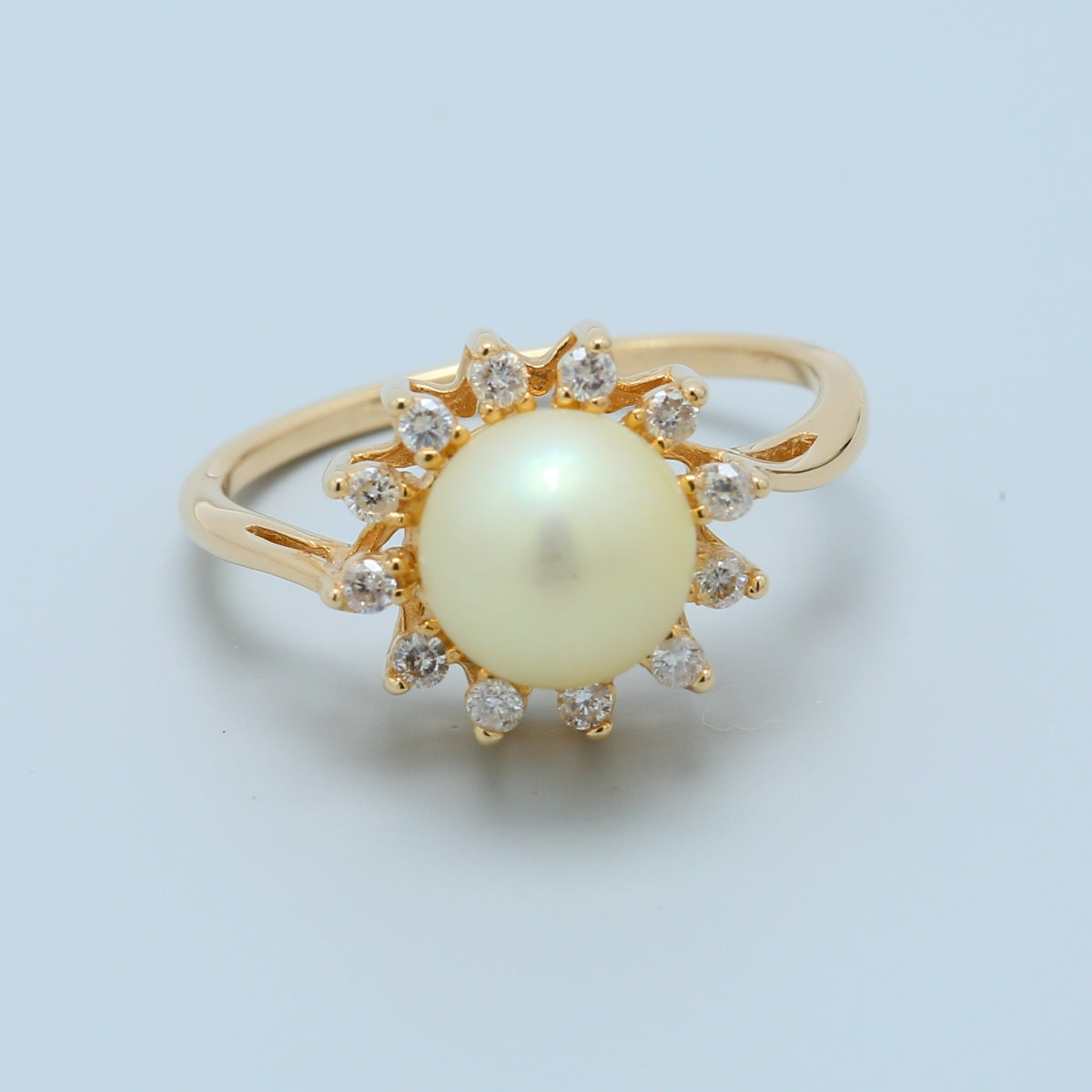 Pearl with Diamond Halo Ring