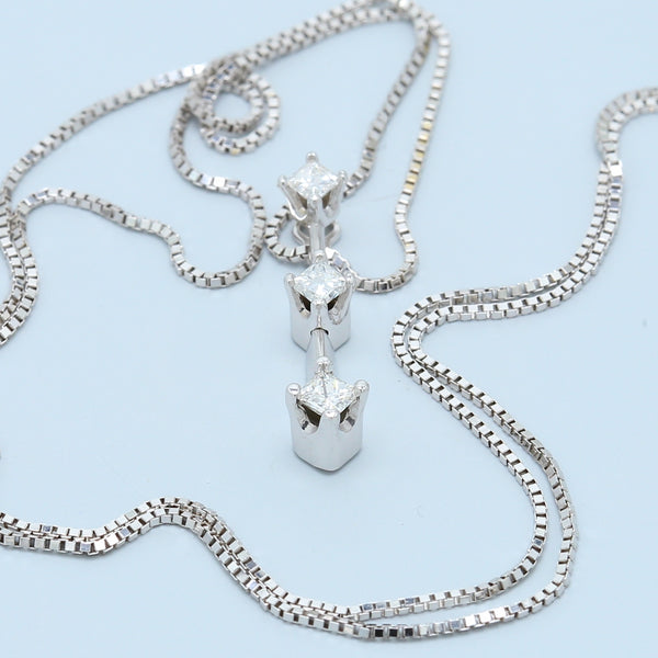 Three Stone Diamond Drop Necklace 1/5ct - 1477 Jewelers