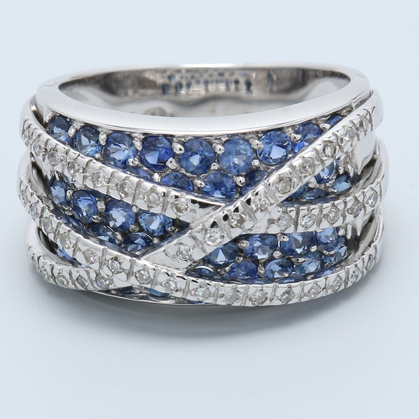 Sapphire and Diamond Highway Band - 1477 Jewelers