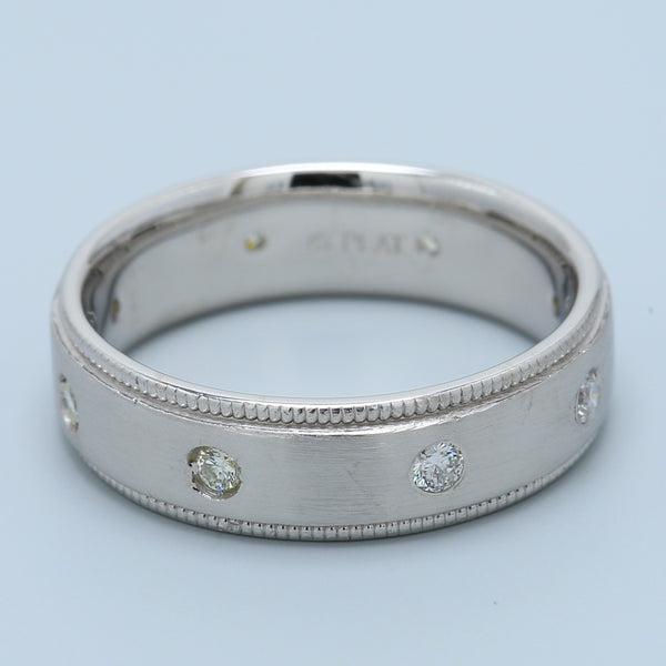 Men's Scattered Diamond Band in Platinum with Satin Finish and Milgrain - 1477 Jewelers