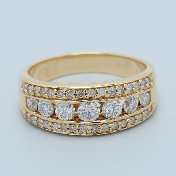 Channel Diamond Cocktail Band in 14k Yellow Gold - 1477 Jewelers