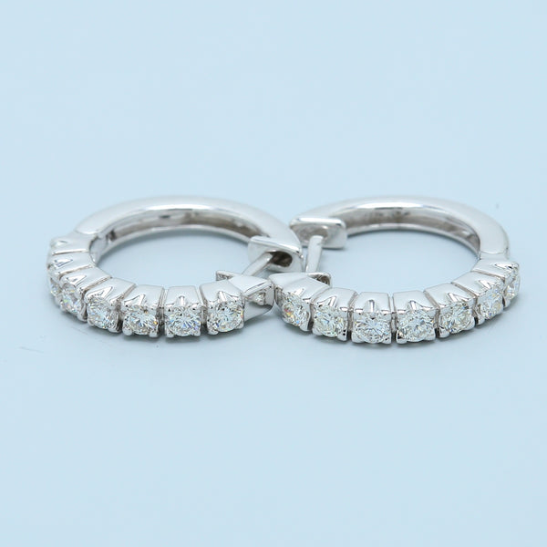 Petite Diamond Hoops in 18k White Gold - 1477 Jewelers