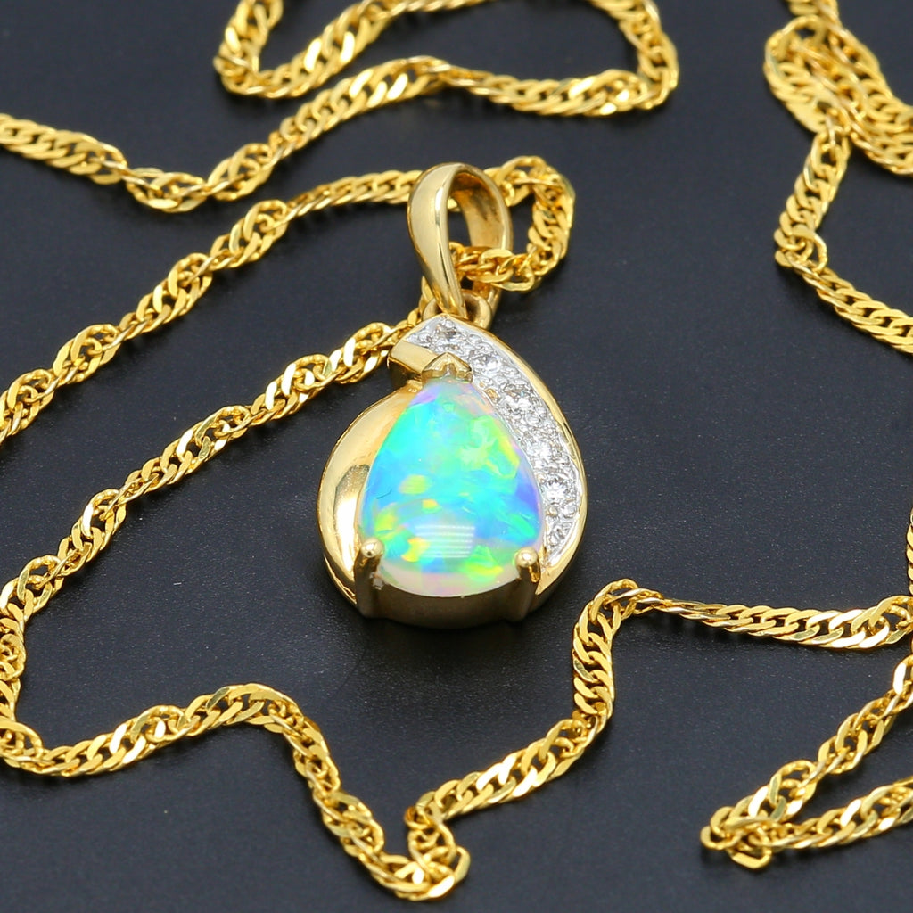 Gorgeous Opal and Diamond Pendant Necklace in 18k - 1477 Jewelers