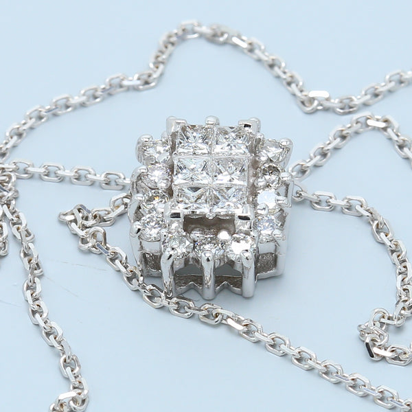 Princess and Round Diamond Halo Necklace - 1477 Jewelers